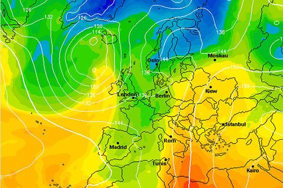 Wetter-Farbkarte für Europa