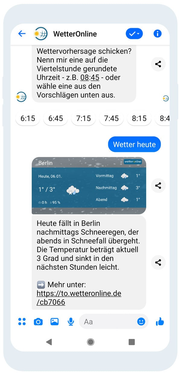 Wetterinfos über den Messenger abonnieren