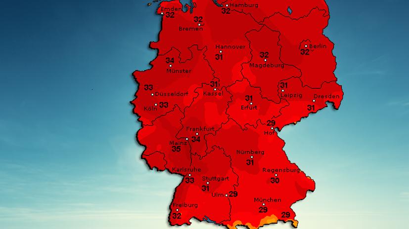 Deutschland-Temperaturkarte